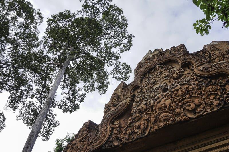 Templo de BANTEAY SREI, extensamente siendo elogiado como un ` precioso de la gema del `, o la joya del ` del arte del Khmer ` imagen de archivo