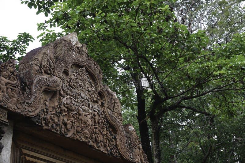 Templo de BANTEAY SREI, extensamente siendo elogiado como un ` precioso de la gema del `, o la joya del ` del arte del Khmer ` fotografía de archivo libre de regalías