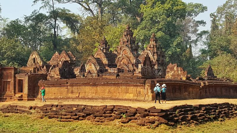 Templo de BanteaySrei, templos de Angkor, Camboya imágenes de archivo libres de regalías