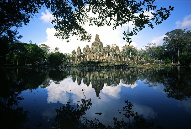 Templo de Bayon, Cambodia fotos de stock royalty free