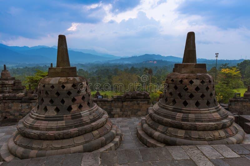 Templo de Borobudur Buddist - ilha Java Indonesia fotografia de stock royalty free