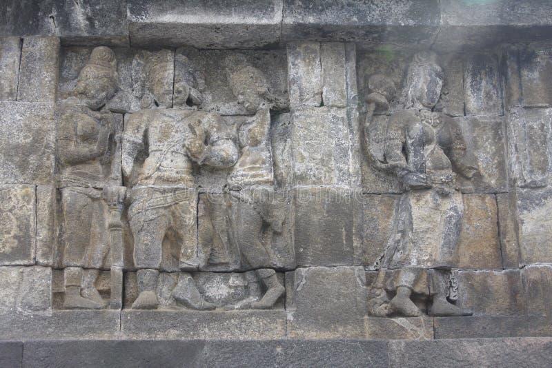 Templo de Borobudur do relevo fotografia de stock