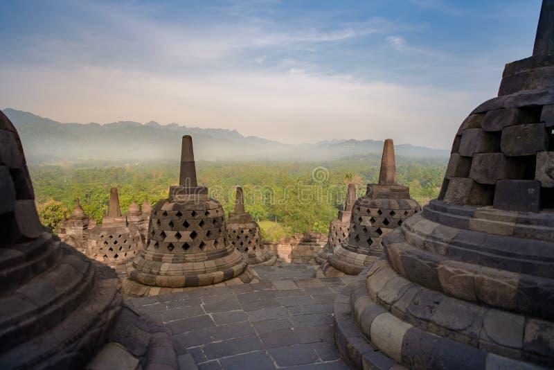 Templo DE Borobudur durante Gr dÃa, Yogyakarta, Java, Indonesië royalty-vrije stock fotografie