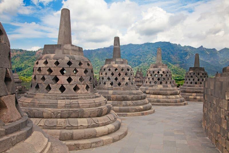 Templo de Borobudur em Indonésia fotografia de stock
