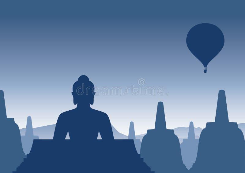 Templo de Borobudur na manhã fotografia de stock royalty free