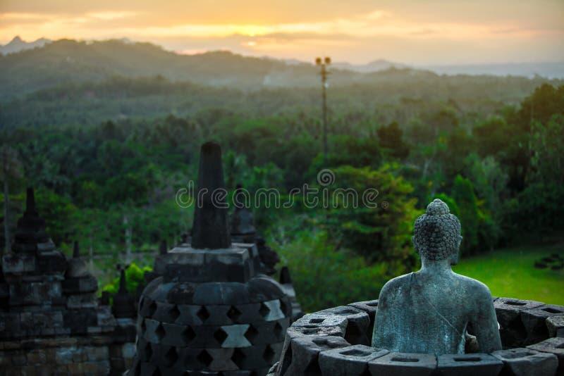 Templo de Borobudur no tempo Yogyakarta Java Indonesia do dia foto de stock