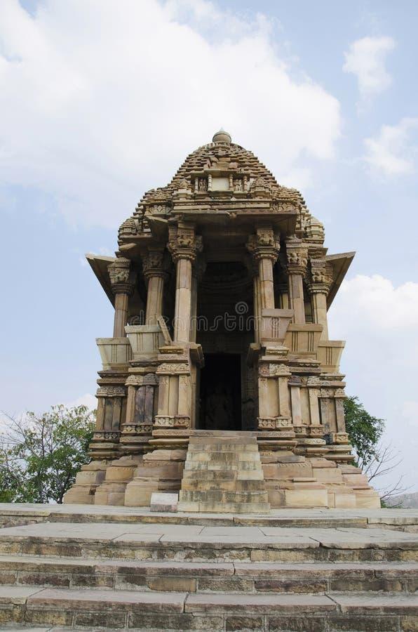 TEMPLO de CHATURBHUJ, fachada - vista geral, grupo do sul, Khajuraho, Madhya Pradesh, local do patrimônio mundial do UNESCO fotografia de stock