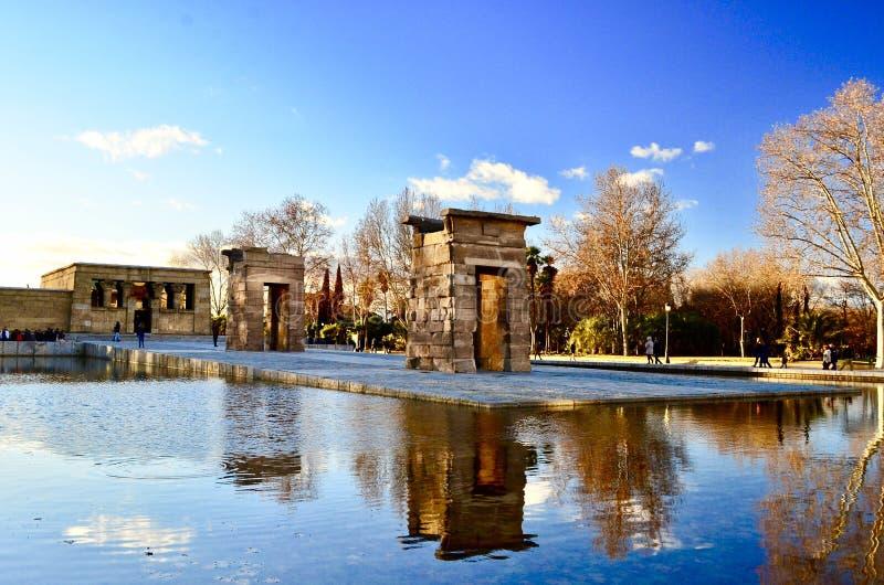 Templo DE Debod in dag, Madrid royalty-vrije stock fotografie