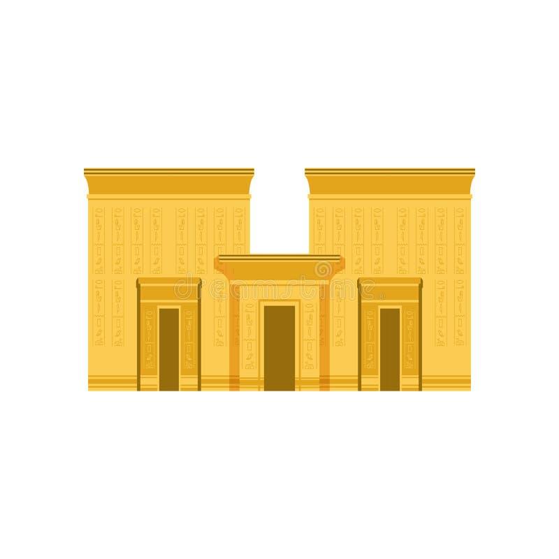 Templo de Egipto, ejemplo egipcio antiguo del vector del edificio stock de ilustración