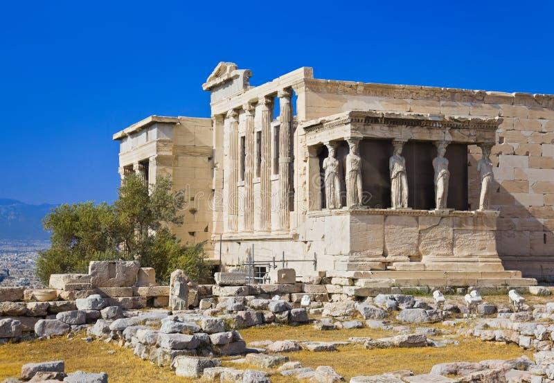 Templo de Erechtheum en acrópolis en Atenas, Grecia imagenes de archivo