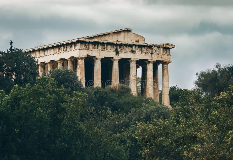 Templo de Hephaestus - ágora antiga Atenas - Grécia fotografia de stock