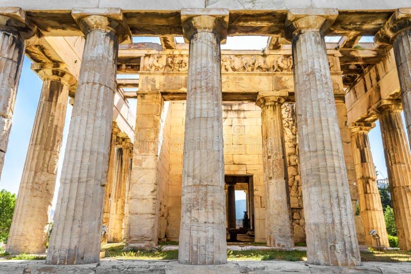 Templo de Hephaestus na luz do sol, Atenas, Grécia imagens de stock