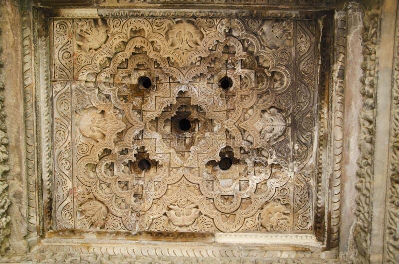 TEMPLO de JAVARI, Mandapa - techo, grupo del este, Khajuraho, Madhya Pradesh, sitio del patrimonio mundial de la UNESCO foto de archivo libre de regalías