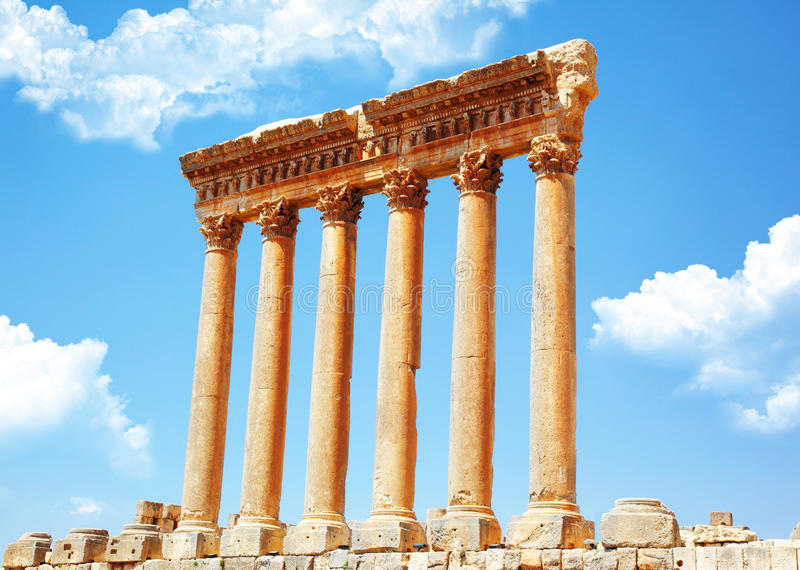 Templo de Jupiter, Baalbek, Líbano fotografia de stock royalty free