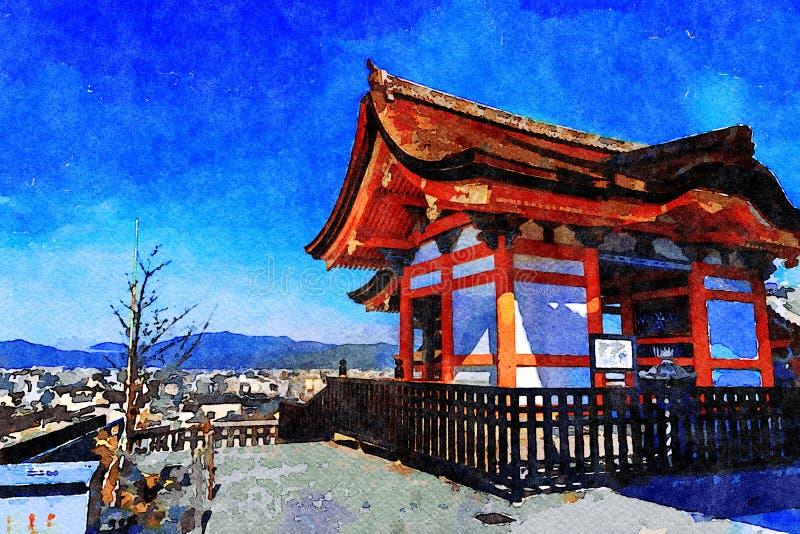 Templo de Kiyomizu-dera, Higashiyama, Kyoto, Japón ilustración del vector