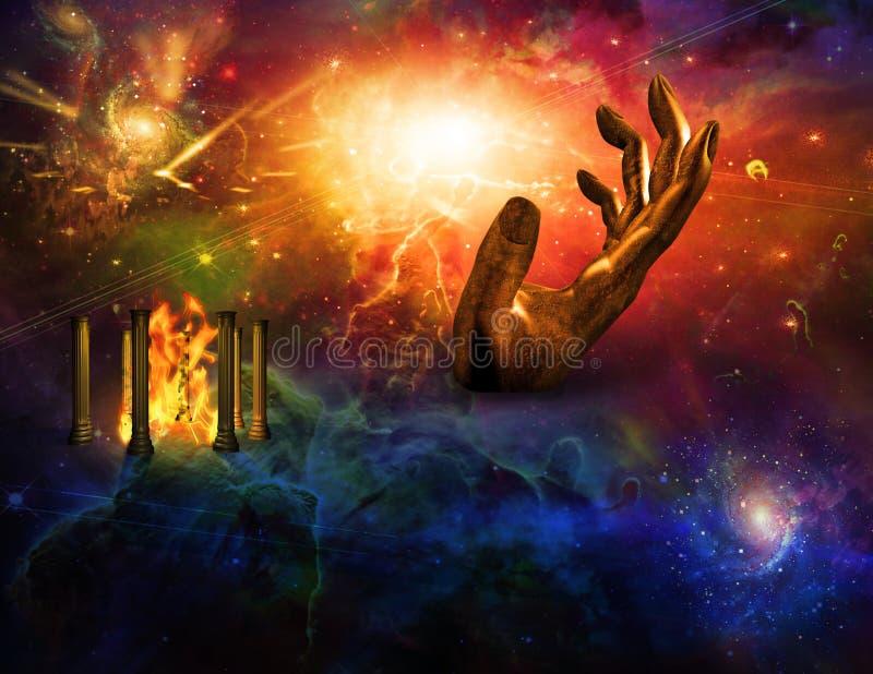 Templo de la mano del fuego del tiempo stock de ilustración