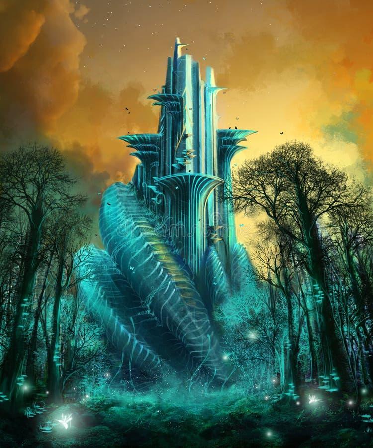 Templo de la mariposa stock de ilustración