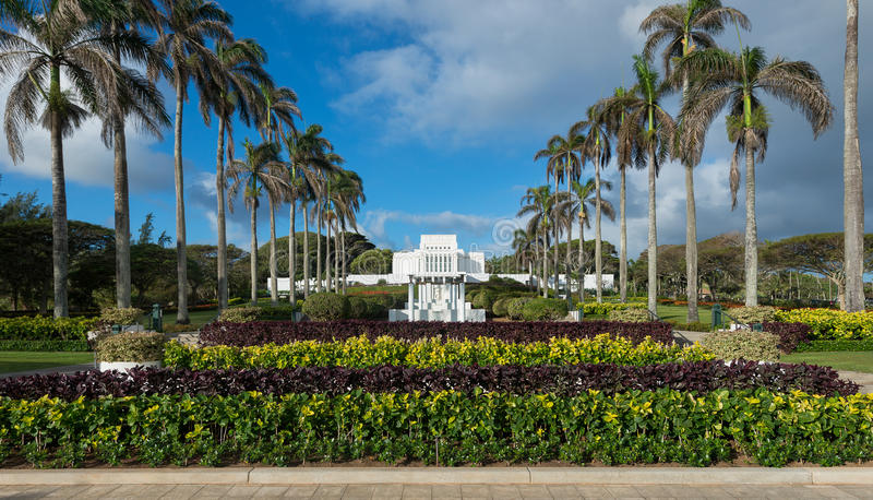 Templo de Laie Havaí fotografia de stock royalty free