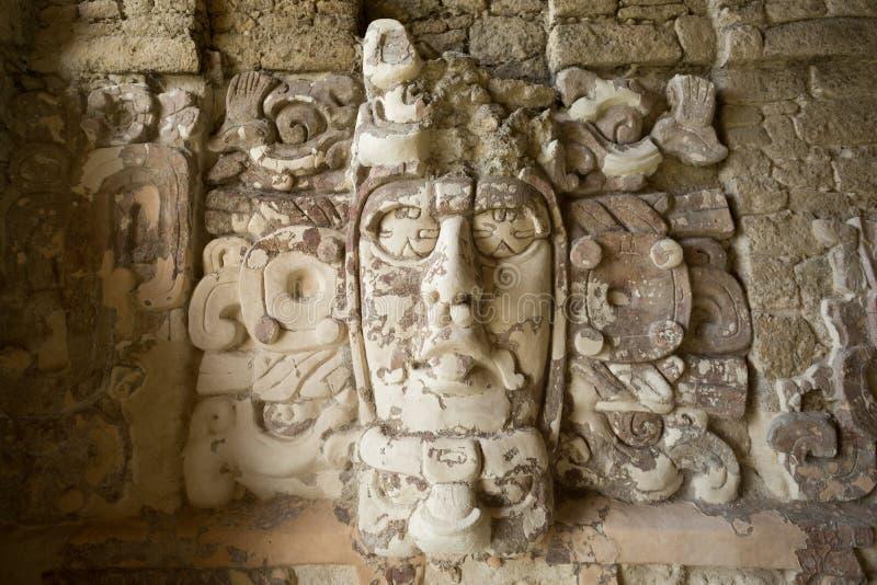Templo de las máscaras en Kohunlich México imágenes de archivo libres de regalías