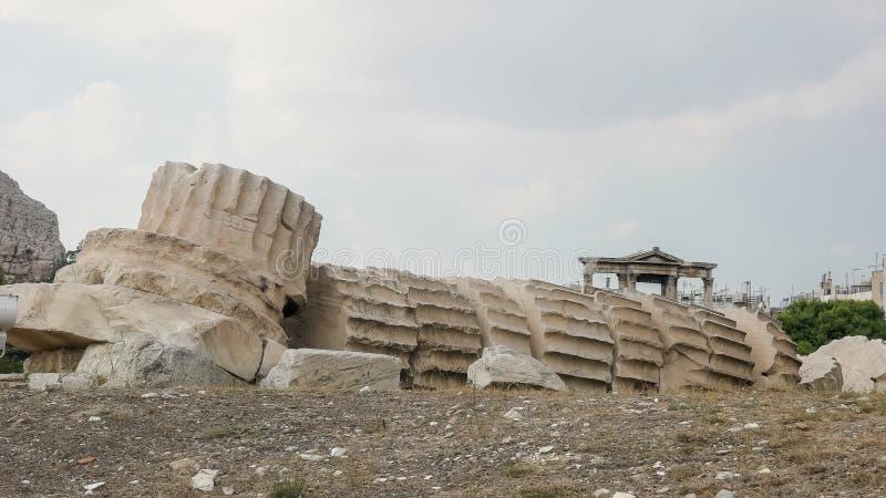 Templo de las ruinas del zeus en Atenas, Grecia fotografía de archivo