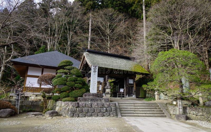 Templo de madera en Yamadera, Japón fotografía de archivo libre de regalías