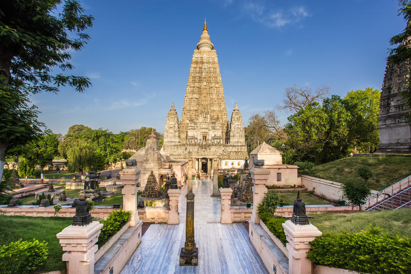 Templo de Mahabodhi, gaya do bodh, Índia fotografia de stock royalty free