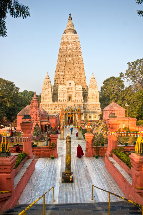 Templo de Mahabodhy, Bodhgaya, India. foto de stock royalty free