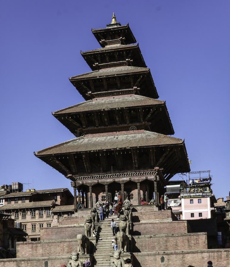 Templo de Nyatapola, Bhaktapur, Nepal foto de archivo