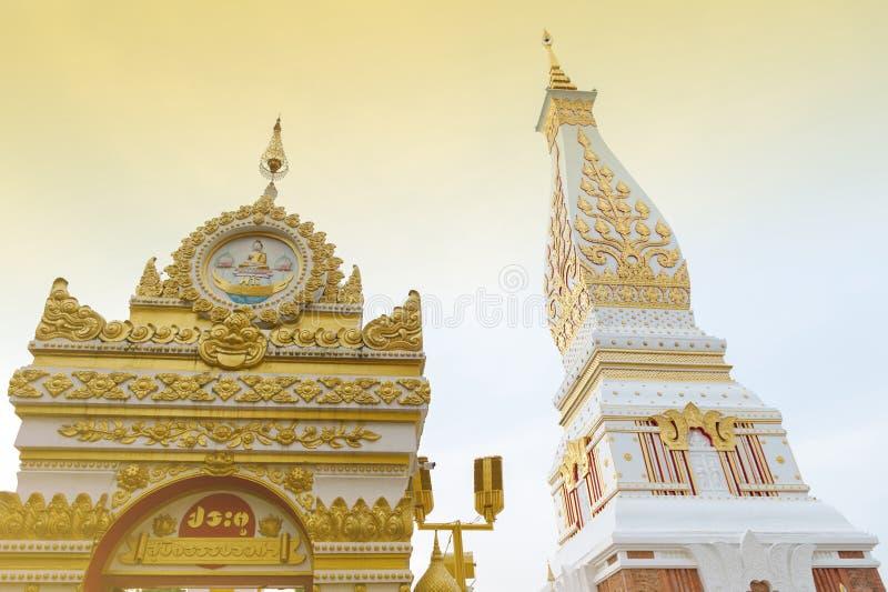Templo de Phra que Phanom Stupa, estructuras budistas importantes de Theravada en la región adentro en la provincia de Nakhon Pha foto de archivo libre de regalías