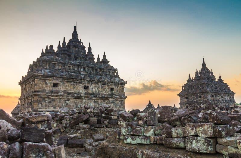 Templo de Plaosan en Indonesia imagen de archivo libre de regalías