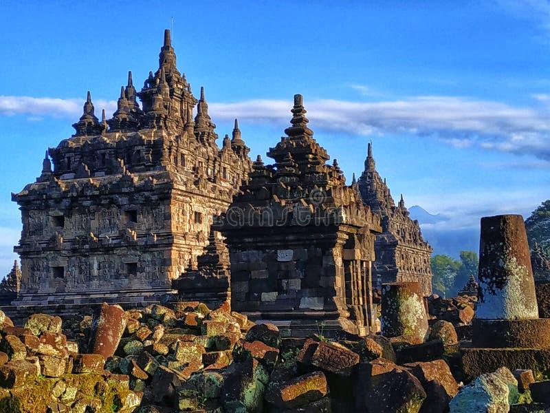 Templo de Plaosan, Klaten Java Indonesia central fotografia de stock royalty free