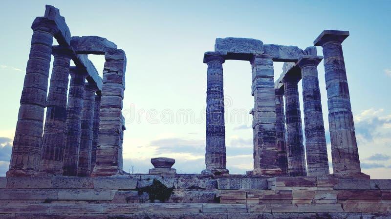 Templo de Poseidon en el cabo Sounion foto de archivo