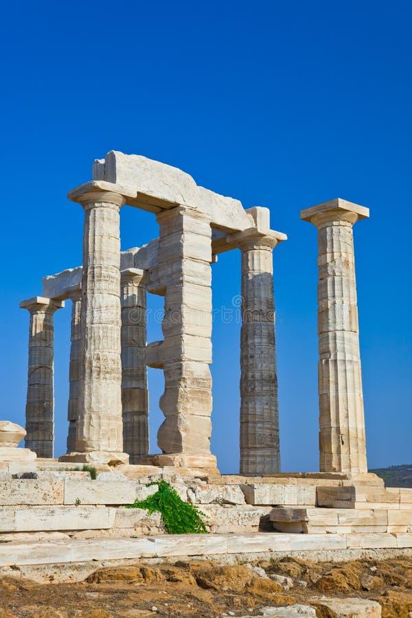 Templo de Poseidon en el cabo Sounion, Grecia foto de archivo