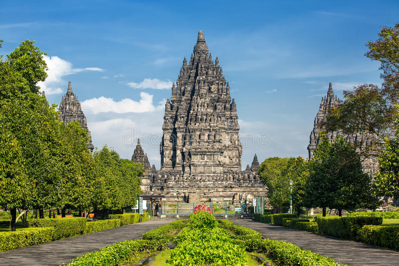 Templo de Prambanan cerca de Yogyakarta, isla de Java, Indonesia imagen de archivo libre de regalías