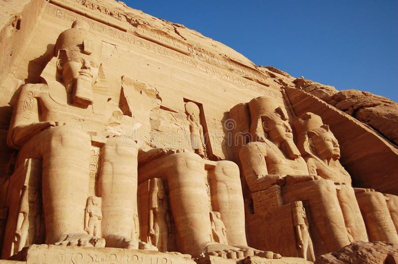 Templo de Rameses II em Abu Simbel, Egipto. imagens de stock