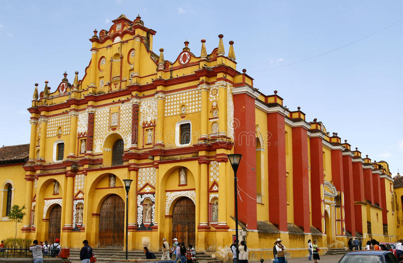 Templo de Santo Domingo cathedral in Mexico. Templo de Santo Domingo - a beautiful cathedral in Mexico, Chiapas region, town of San Cristobal de las Casas stock photos