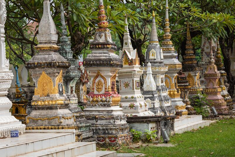 Templo de Sisaket na cidade de Vientiane Arquitetura antiga e estátuas de Buda Vientiane, Laos foto de stock royalty free