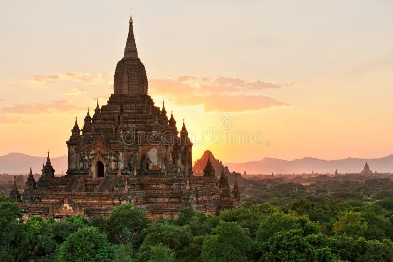 Templo de Sulamani no por do sol, Bagan, Myanmar. fotografia de stock