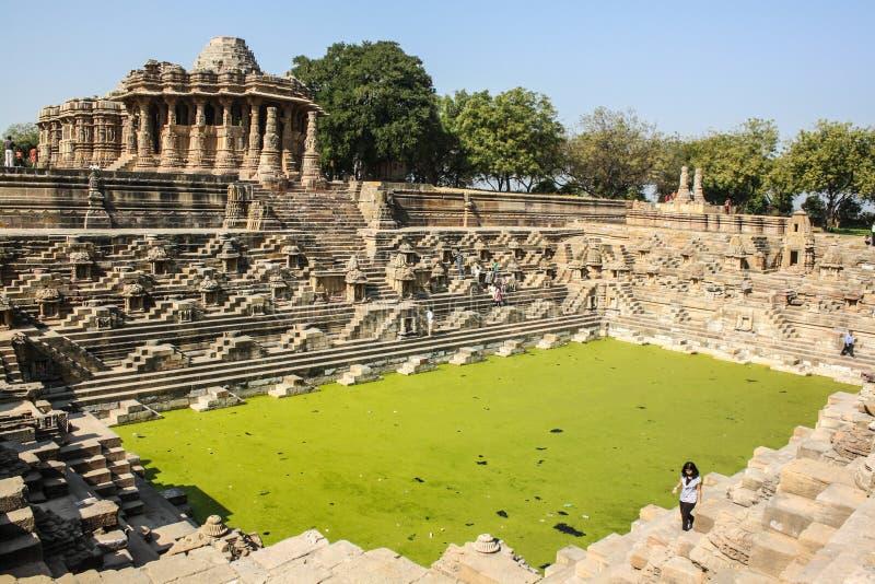 Templo de Sun, Modhera, la India imagen de archivo