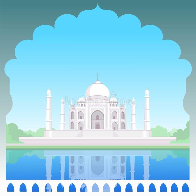 Templo de Taj-mahal Olhar do dia ilustração stock