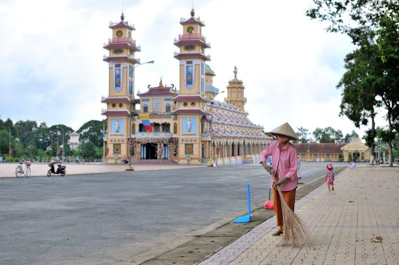 Templo de Tay Ninh uma manhã imagens de stock royalty free