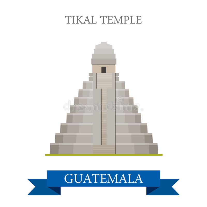 Templo de Tikal en illu plano del vector de la historieta de Guatemala libre illustration