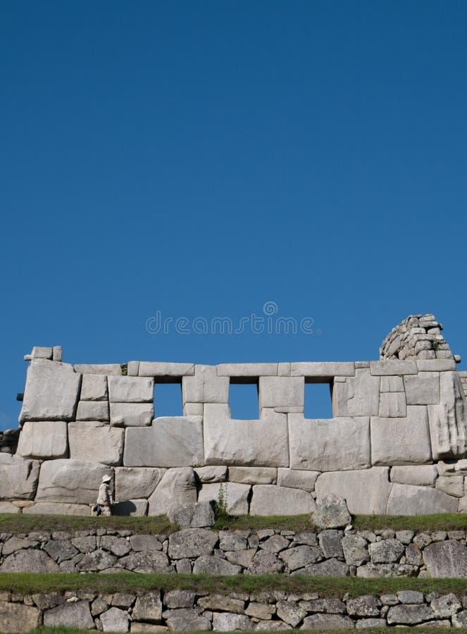 Templo de três Windows em Machu Picchu fotografia de stock