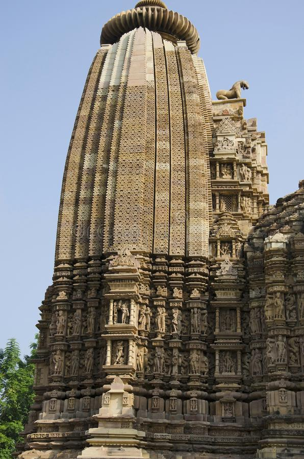 TEMPLO de VAMANA, Shikara - vista superior, grupo oriental, Khajuraho, Madhya Pradesh, local do patrimônio mundial do UNESCO fotos de stock