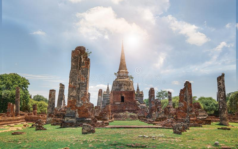 Templo de Wat Phra Si Sanphet en Ayutthaya imagen de archivo