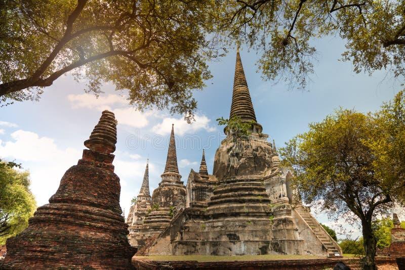 Templo de Wat Phra Si Sanphet en Ayutthaya fotos de archivo
