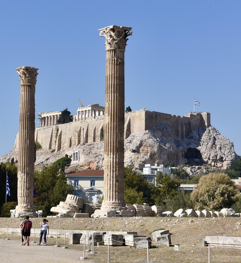 Templo de Zeus/de la acrópolis foto de archivo libre de regalías