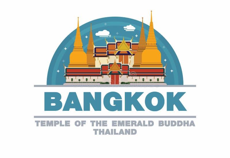 Templo del Buda esmeralda en símbolo del logotipo de Bangkok, Tailandia libre illustration