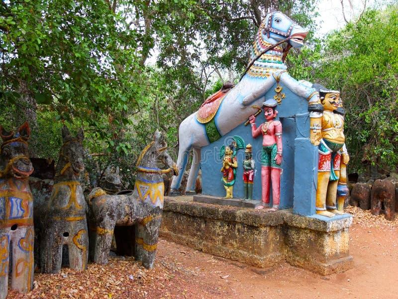 Templo del caballo, Chettinadu, la India fotos de archivo