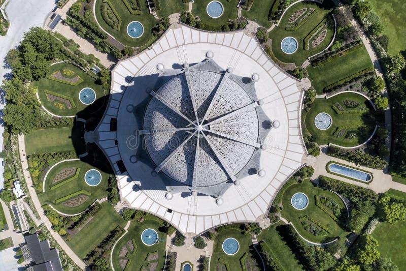 Templo del ` i de Bahai desde arriba fotos de archivo